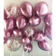 Шарики хром розовые