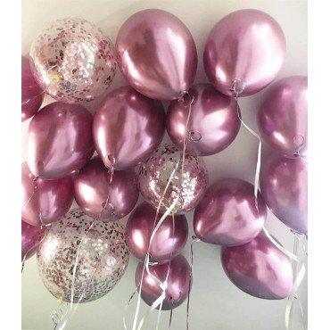 Хромированные воздушные шары розового цвета