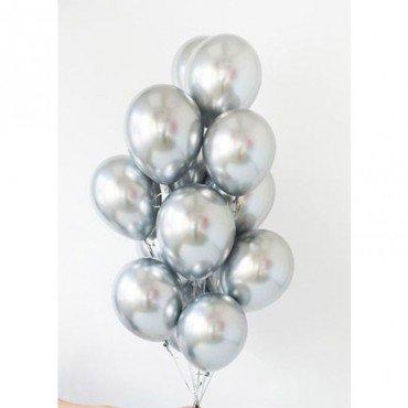 Хромированные воздушные шары серебряного цвета