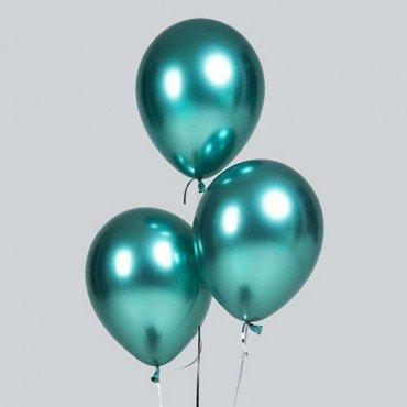 Хромированные воздушные шары зелёного цвета