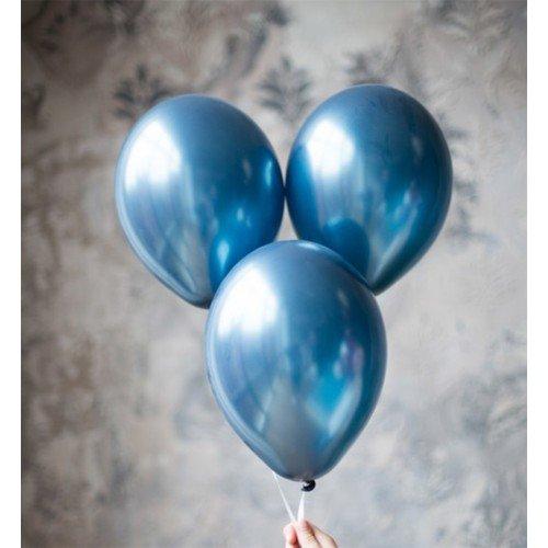 Хромированные воздушные шары синего цвета