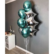 Фонтан из шариков хром с серебряными звёздами
