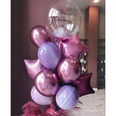 Фонтан из шаров агатов и хром с шариком баблс с надписью на День Рождения