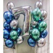 Композиция с шариками хром на 7 лет