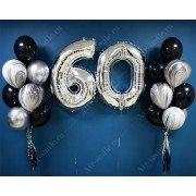 Украшение шариками на юбилей 60 лет с серебряными цифрами