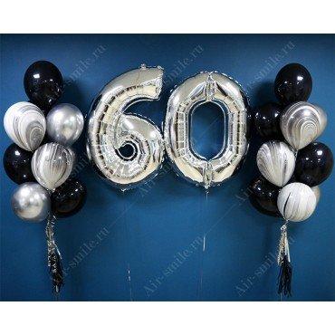 Оформление шариками юбилея 60 лет в чёрно-серебряном цвете