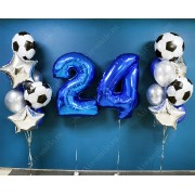 Воздушные шары для мужчины с футбольными мячами на 24 года