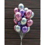Фонтан из воздушных шаров розовый, серебряный и фиолетовый хром