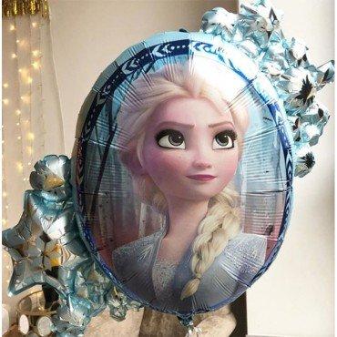 Фольгированный шар-зеркало двухсторонний с рисунком Анны и Эльзы