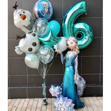 Украшение шариками дня рождения на 6 лет в стиле холодное сердце