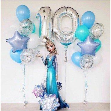 Украшение шарами на 10 лет в стиле холодное сердце