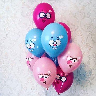 Гелиевые шарики на 1 год для ребенка с рисунком Смешариков