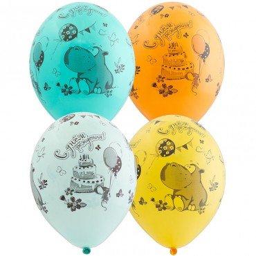 Воздушные шарики на День Рождения с рисунком бегемота и тортика