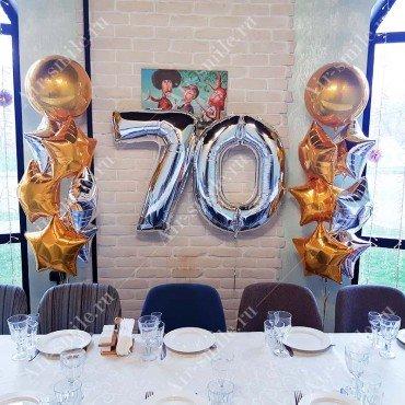 Оформление воздушными шарами юбилея 70 лет
