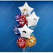 Облако из разноцветных шариков с хэштегами и фольгированных звёзд с наклейками-мемами