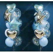 Фонтаны из шариков с фольгированными сердцами и звёздами на выписку для мальчика