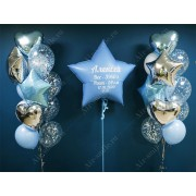 Звезда с метрикой и фонтаны из шаров на выписку мальчика