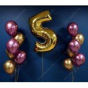 Фонтаны из шаров хром на 5 лет с цифрой