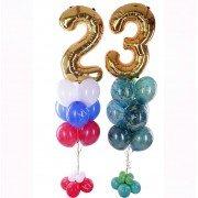 Фонтаны из шаров на 23 февраля с золотыми цифрами