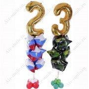 Композиция из фольгированных шаров с цифрами на 23 февраля