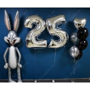 Композиция из шаров на 25 лет с кроликом Багз Банни