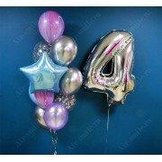 Фонтан из шаров на 4 года с агатами и хромом