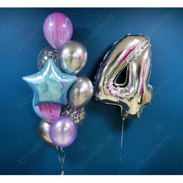 Фонтан из шаров на 4 года с сиреневыми агатами и хромом серебро