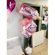 Фонтан из шаров на выписку для девочки с бутылочкой
