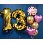 Букет из шаров на 13 лет с цифрами