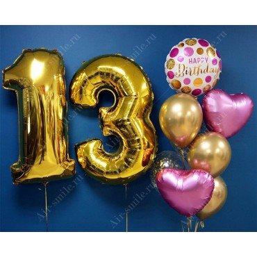 Букет из шариков на 13 лет и золотые цифры