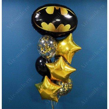 Фонтан из воздушных шаров с эмблемой бэтмена
