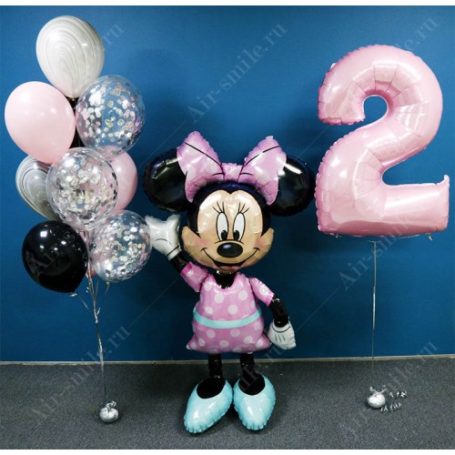 Воздушные шарики на 2 года для девочки с Минни Маус