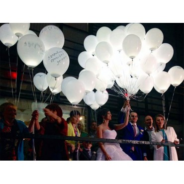 Воздушные шарики белого цвета на свадьбу со светодиодами