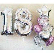 Букет из шаров с конфетти на 18 лет