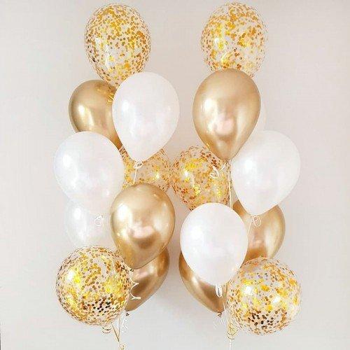Фонтан из шаров на свадьбу с золотом