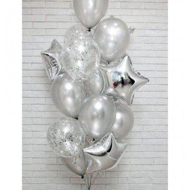 Фонтан из серебряных шаров металлик, конфетти и звёзд