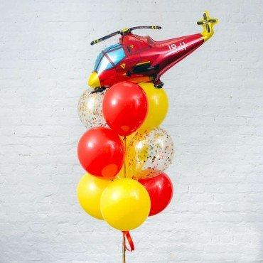 Фонтан с вертолетом и яркими шариками для мальчика