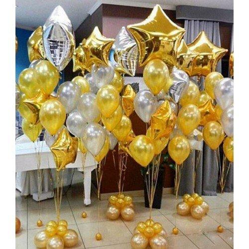 Фонтан из шаров в золотом цвете