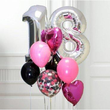 Букет из шариков с цифрой на 18 лет