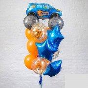 Фонтан из шариков для мальчика с машинкой