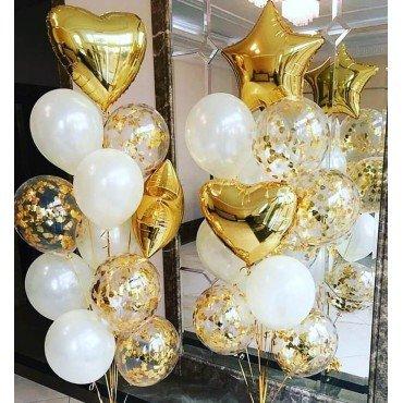 Фонтаны из шариков на свадьбу с золотыми сердцами и звёздами