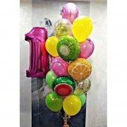 Композиция из шариков на 1 год в тропическом стиле