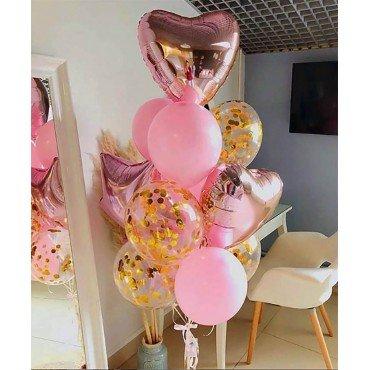 Фонтан из розовых шариков с фольгированными сердцами