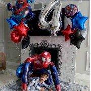 Комплект шаров на 4 года с Человеком Пауком
