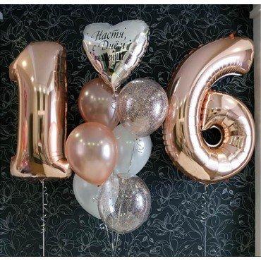Композиция шаров для девушки на день рождения 16 лет