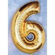 Шар цифра 6 золотого цвета