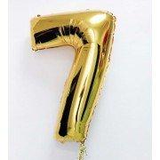 Шар цифра 7 золотого цвета