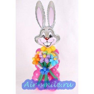 Фигура из шариков заяц с разноцветным букетом
