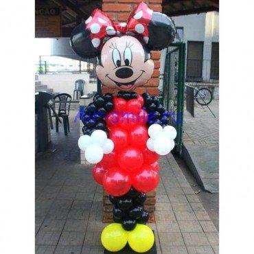 Фигура из шаров Минни Маус с красным бантиком