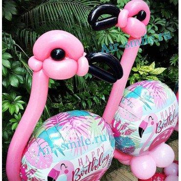Фигура из шаров тропический розовый фламинго